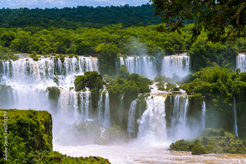 Iguazu Falls or Iguassu Falls in Brazil. Cascade of waterfalls