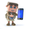 3d Hiker with smartphone