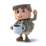 3d Hiker drinks coffee