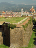 landscape of Florence with walls of Belvedere Fort