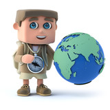 3d Hiker studies the globe