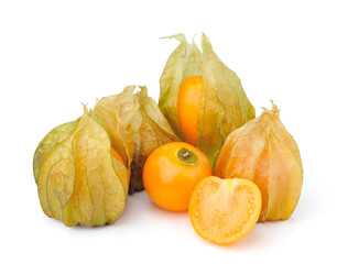 Fresh physalis (cape gooseberry) isolated on white background
