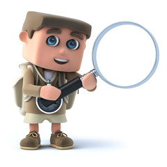 3d Hiker with magnifying glass