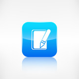 Notepad with pencil icon. Application button.