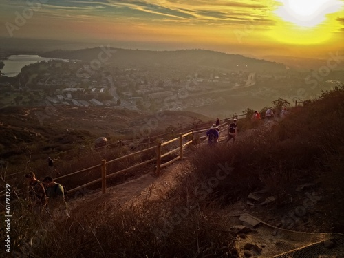 Hikers along trail at Cowles Mountain, San Diego, USA