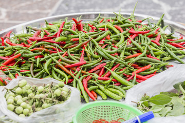 Colorful Thai Chili, in the market Uthaithani Thailand