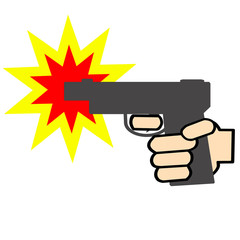 ピストルの発砲