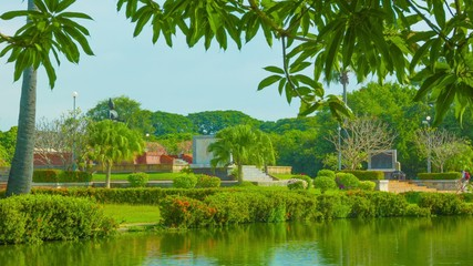 Park in Sukhothai - view to Pho Khun Ram Khamhaeng monument