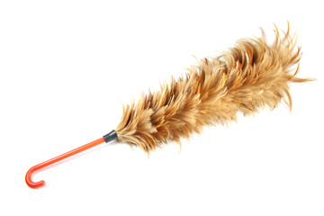 Feather soft duster with plastic handle.