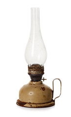 old, retro kerosene lamp isolated on white background