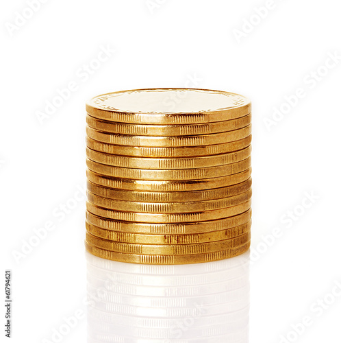 A stack of gold coins, isolated on white