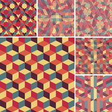 set of abstract retro geometric pattern
