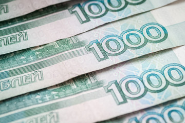 Background of thousand russian rubles, close-up.