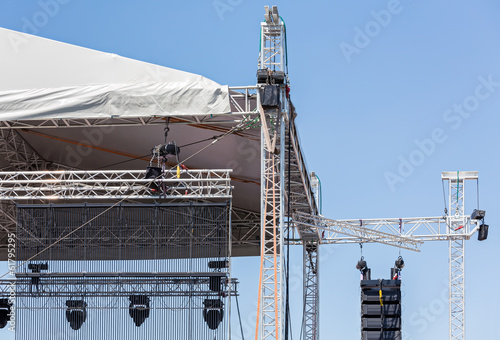 Concert lighting and sound equipment
