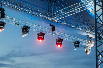 Row of color lights from a stage
