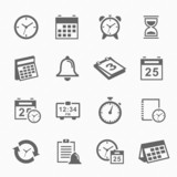 Time and Schedule stroke symbol icons set