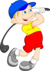 boy cartoon golf cartoon