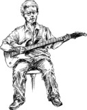 hand drawn guitar player