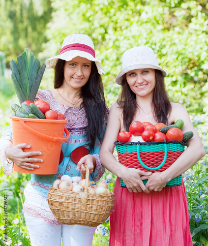 happy women with  harvest