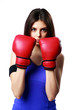 sport woman standing with boxing gloves