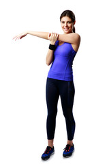 sport woman stretching hands