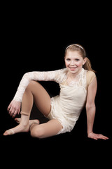 young girl dance sitting