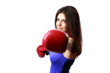 woman punching in camera with boxing glove