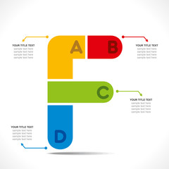 creative 'F' alphabet info-graphics concept vector