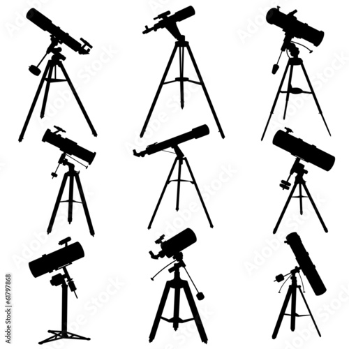 Vector silhouettes of telescopes.