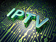 SEO web development concept: IPTV on circuit board background