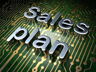 Advertising concept: Sales Plan on circuit board background