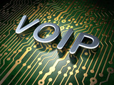 SEO web design concept: VOIP on circuit board background