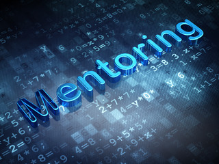 Education concept: Blue Mentoring on digital background