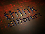 Education concept: Think Different on digital screen background poster