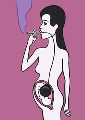 Pregnant woman smoker.