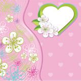 Design for wedding template.Spring flowers,line ,heart backgroun