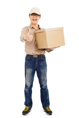 smiling  delivery man holding parcel and thumb up