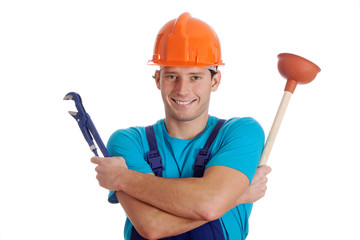 Man holding hydraulic tools