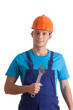 Worker with wrench