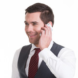 Happy man calling by mobile.
