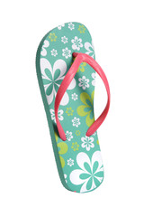 Brightly colored flip flops with flowers