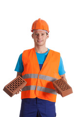 Builder with bricks