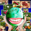 Smiling Green Globe Planet Earth white smile teeth.Healthy Food