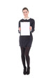 beautiful brunette woman in black dress with clipboard isolated