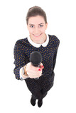 young beautiful business woman in black dress with microphone is
