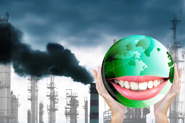 Smiling Green Globe Planet Earth white smile teeth.Ecology
