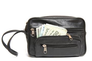 man's handbag with hidden money