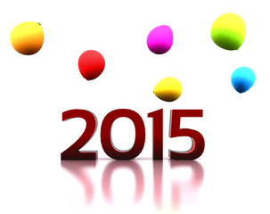3D illustration - we celebrate the New Year 2015