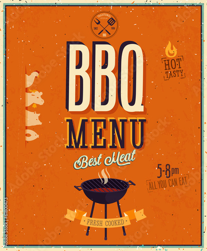 Vintage BBQ poster.