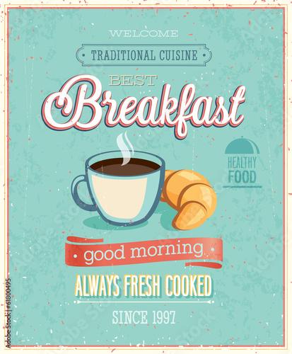 Fototapeta Vintage Breakfast Poster.